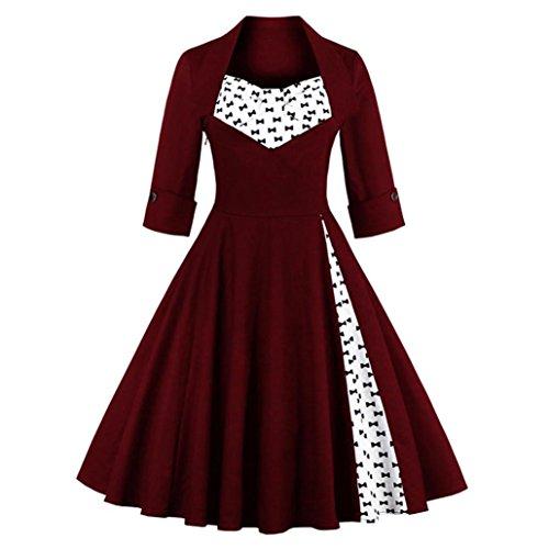 Hansee Charming Damen Vintage Style Rockabilly Abend Prom Swing Dreiviertel-Kleid (L, Wein) (Kleid Prom Zurück)