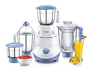 Prestige Iris(750 Watt) Mixer Grinder with 3 Stainless Steel Jar + 1 Juicer Jar,White and Blue