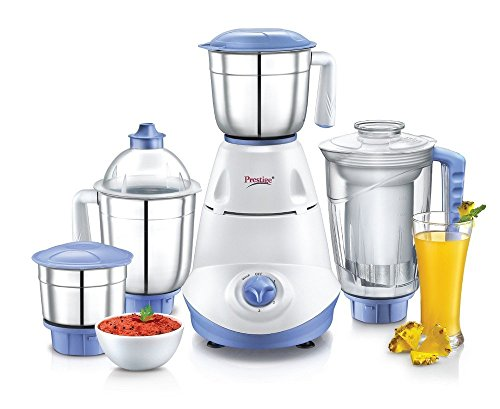 Prestige Iris(750 Watt) Mixer Grinder with 3 Stainless Steel Jar + 1 Juicer Jar, White and Blue