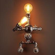 GYP Lámpara de pared retro, lámpara de pared de estilo industrial Lámpara de pared ajustable Lámpara de pared de hierro Bar de dormitorio Restaurante Cafe lámpara de pared de color marrón Cabeza doble E27 Portalámparas 34 * 44CM ( Tamaño : #1 )