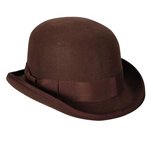 Wollfilz Melone braun, Kopfweite 61, Hut 20er Jahre Fasching Bowler Hat Hut - Braun Bowler Hut Kostüm