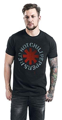 Red Hot Chili Peppers Stencil Black T-Shirt schwarz Schwarz