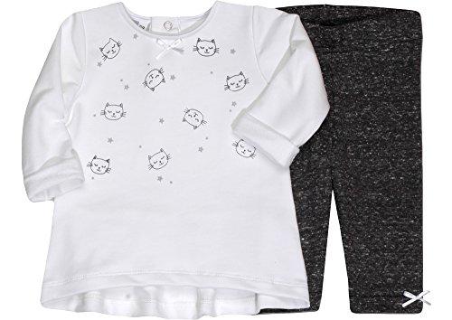 Be Mammy Mädchen Set T-Shirt und Leggings Cat 7103 (Weiß/Schwarz/Melange, 98)