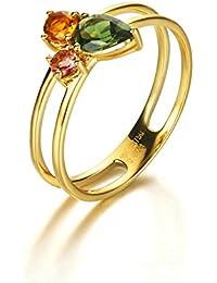 7ff3303a3eb7 Anyeda Anillos de Mujer Hombre 18K Gold Barras Paralelas Diamante Cómodo  para La Boda