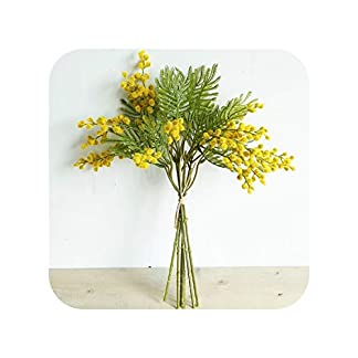 dudifeng – Ramo de Flores Artificiales de Acacia (40 cm), Color Verde