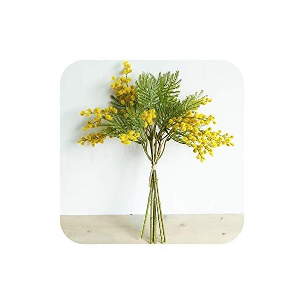 dudifeng – Ramo de Flores Artificiales de Acacia (40 cm), Color Verde, C, Talla única