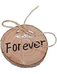 JUNGEN Forever elegante anillo de boda rústico redondo de madera cojín anillo organizador almohada