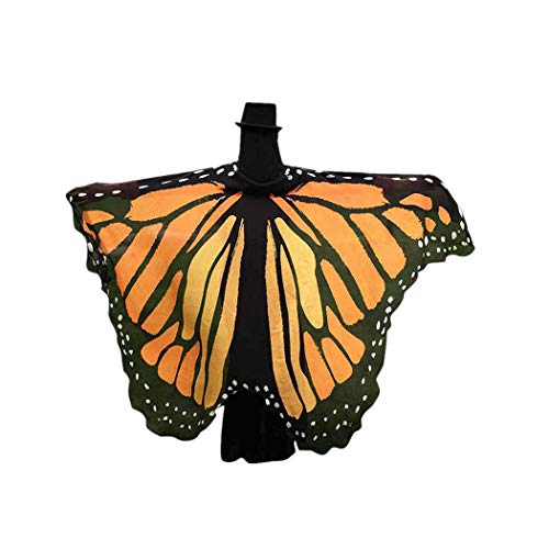 BYSTE Donne Ali delle Farfalle Scialle sciarpe Le signore Nymph Pixie Pavone Poncho Costume Accessorio (arancia)