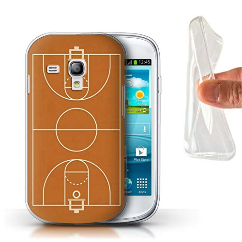 eSwish Gel TPU Hülle/Case für Samsung Galaxy S3 Mini/Basketball Muster/Amerikanisch Sportplatz Feld Kollektion (Case Samsung S3 Mini Basketball)