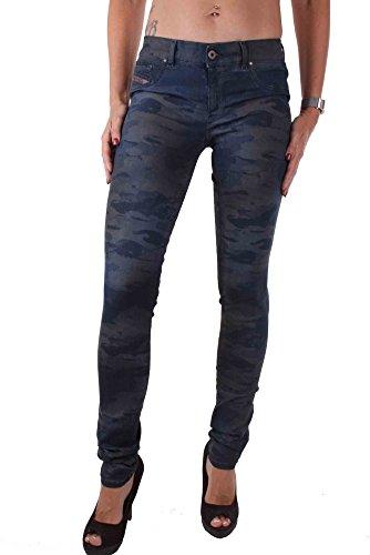 Diesel Livier 0847C Damen Jeans Hose Slim Jeggins Camouflage Blau
