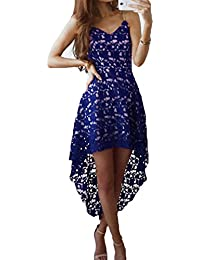 Hibote Dresses Women Lace Dress Sexy Sleeveless Asymmetric Dresses Sling V Neck Dress Elegant Solid Color Cocktail Dress Party Dresses Ball Gown