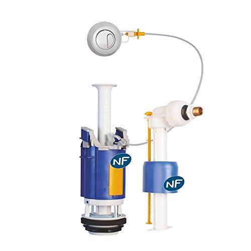 Regiplast 26500 Mécanisme de chasse double débit à câble + robinet flotteur uni 0500 NF CL 1
