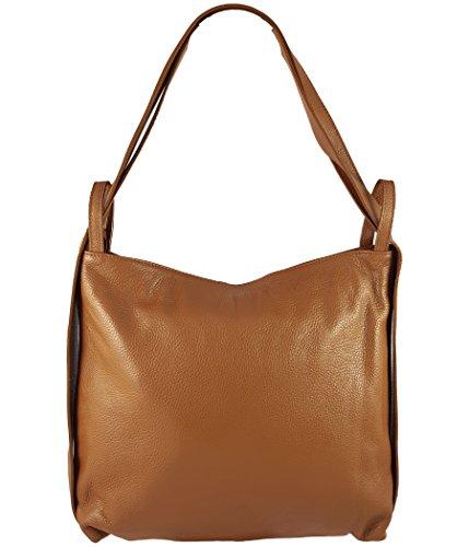 f8bbbe9a3d637 Freyday 2in1 Damen Handtasche Rucksack Designer Luxus Henkeltasche aus 100%  Echtleder (Cognac)