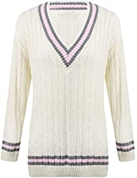 New Ladies V Neck Cable Knitted Cricket Jumper Womens Stretch Long Sleeve Stripe Top Cream Size 8 10