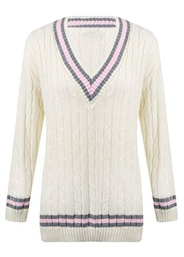 Damen Strickpullover, V-Ausschnitt, Zopfmuster, Cricket-Pullover für Damen, elastisch, Lange Ärmel, mit Zierstreifen Gr. One size, Creme / Pink
