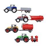 STOBOK 4pcs simulación Tractor agrícola Modelo camión vehículos de ingeniería Juguetes para niños niños