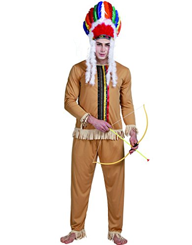 EraSpooky Erwachsene Indian tapferen Kostüm Wild West Native Herren (Outfits Wild West)