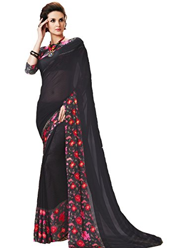 Indian Beauty Black Georgette Printed With Blouse Sarees