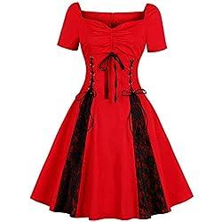 Vestido Vintage Dama,YiYLunneo Vestido De Traje Medieval Skirt Renacentista para Mujer Vestir Largo De Noche De Estilo Victoriano Gotico