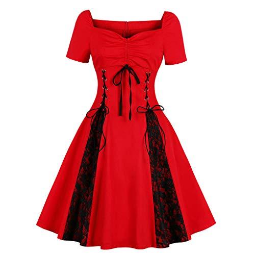 ♥ Loveso♥ 1950er Damen Kurze Ärmel Rockabilly-Kleid Spitze Cocktailkleid Kleid 50er Vintage Retro Kleid -