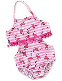 d6865414e Hksfnsj Traje de baño de Playa de una Pieza para niñas Tra Chicas Niños  Borla Traje