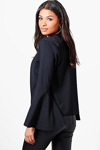 Femmes gris Isabella Flare Sleeve Collarless Blazer Gris
