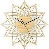 Reloj de Pared 3D Natural troncos Lotus reloj de pared de madera de bambú creativa pared de bambú de la pared Charts Clock Mute