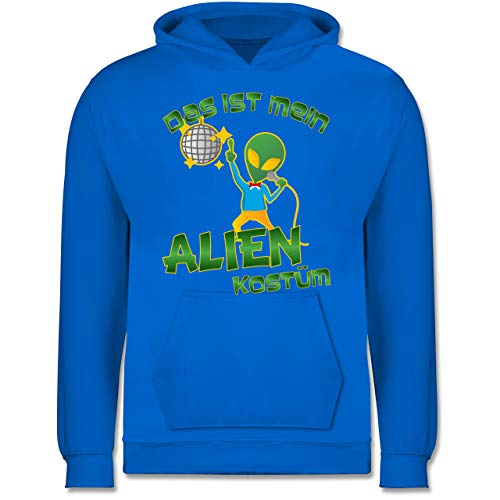 Tanzen Kostüm Kinder Disco - Karneval & Fasching Kinder - Das ist Mein Alien Kostüm Disco - 9-11 Jahre (140) - Himmelblau - JH001K - Kinder Hoodie