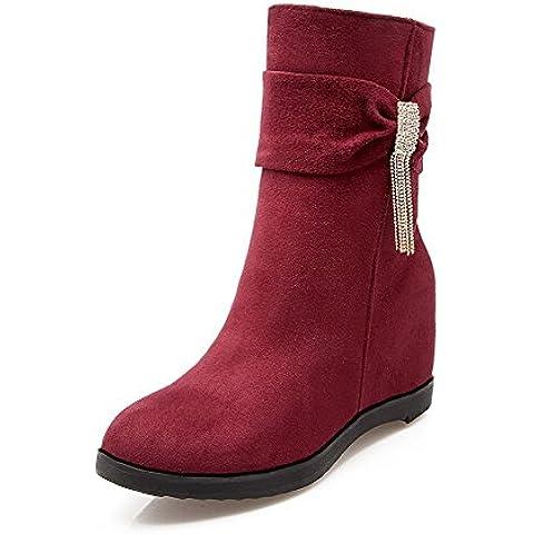 VogueZone009 Donna Bassa Altezza Cerniera Plastica Punta Tonda Stivali con Studded (I Migliori Donne Di Inverno Boots)