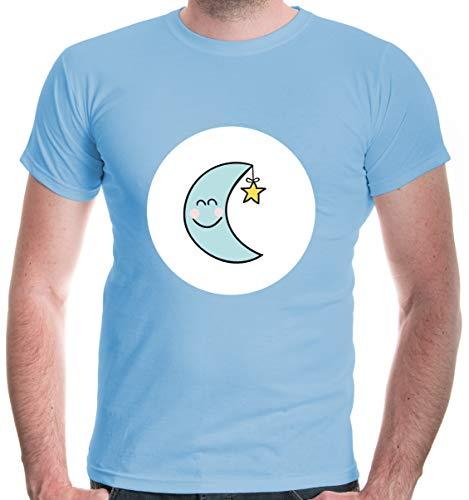 buXsbaum® Herren T-Shirt Glücksbärchi Mond Kostüm Fasching | M, Blau