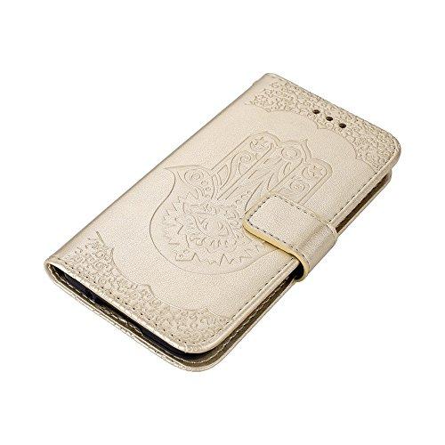 EKINHUI Case Cover Geprägte Palmen-Blumen-Muster Retro PU-lederne Mappen-Beutel-Kasten-Abdeckung mit Einbauschlitzen und Abzuglinie für Samsung-Galaxie S5 ( Color : Pink ) Gold