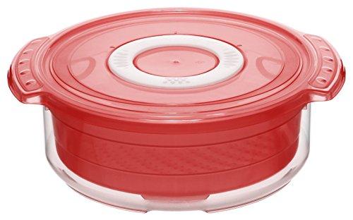 Rotho 1737490000 Mikrowellen-Dampfgarer rund, gesundes und zeitsparendes Kochen, BPA-frei, Inhalt 1,4 l, circa 23 x 20 x 7,5 cm (LxBxH), rottransparent
