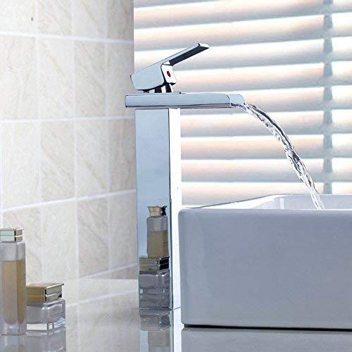 Chrom-Finish New Single Handle breiten Auslauf Waschbecken aus poliertem Messing Mischbatterie Wasserfall Waschtischarmatur -