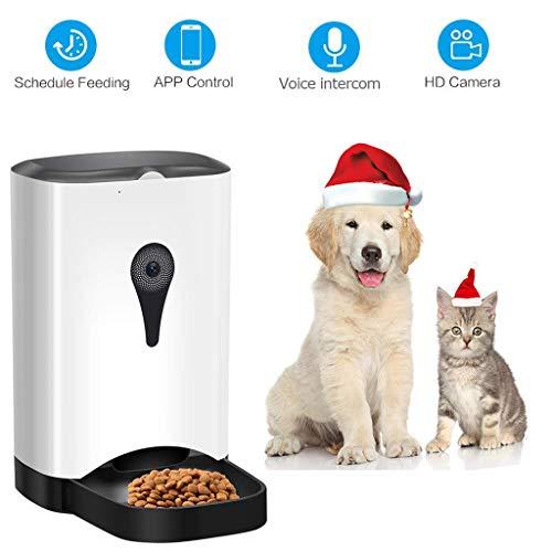 XIAOD Alimentador De Pet Smart Alimentador con Cámara, Aplicación De Control Remoto De Voz Walkie-Talkie Alimentador Automático De Perro Y Distribuidor De Alimentos para Gatos 4.5 L Gran Capacidad