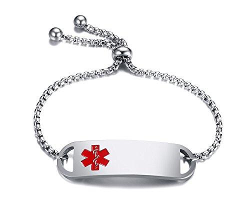 VNOX Männer Frauen Edelstahl Frei Eingraviert Medizinische ID Armband Fidschi Freundschaft SOS Notfall Alarm Einstellbare Link Armband