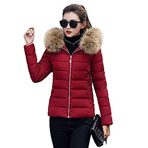 Beikoard Vestiti Donna Invernali,Pantalone Cappotto Sottile Cappotto Sottile Cappotto Invernale Casual Donna Moda Solido(Vino Rosso,L)