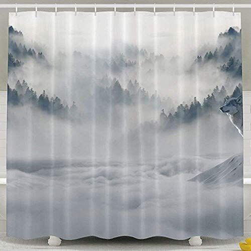 Duschvorhang,Animal Artistic Atmosphere Cloud Cold Fog Forest Lights Mist Mountain Mountains Murky Nature Pine Trees Predators Sky Snow Trees White Wolf Wolves Funny Bathroom Curtains 60x72inch Betsey Johnson Zebra