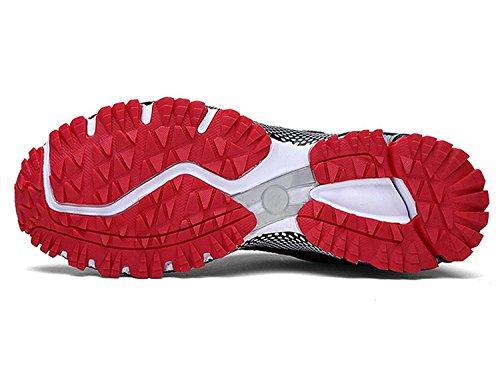 Uomo Donna Scarpe da Ginnastica Corsa Sportive Running Sneakers Fitness Interior Casual all'Aperto nero rosso
