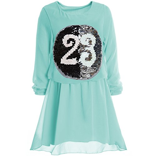 BEZLIT Mädchen Wende Pailletten Frühlings Kleid Peticoat Fest Lang Arm Kostüm 21002, Farbe:Türkis;Größe:140 (Beste Eltern Kind Kostüme)