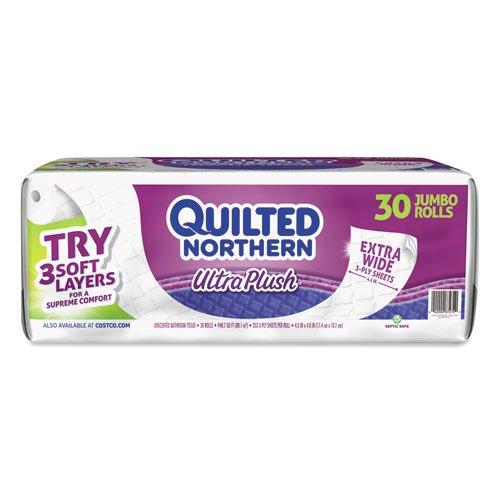 Quilted Northern Ultra Plüsch Toilettenpapier, 30 Jumbo-Rollen, 3-lagig, extra breit, weiß, 5 Packungen mit 6 Jumbo-Rollen - Jumbo-rollen