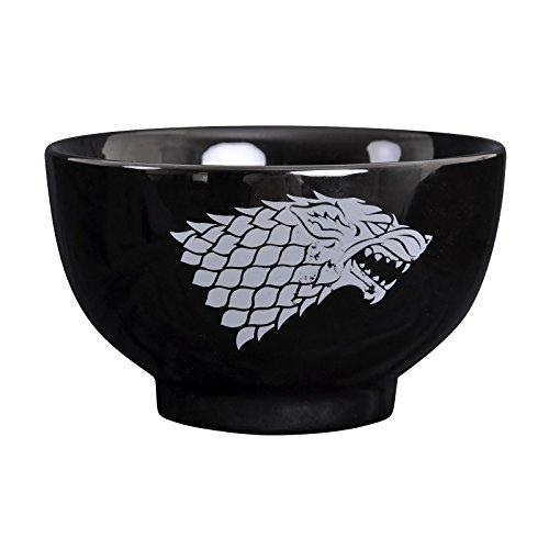 Juego de Tronos Casa Stark Cresta Tazón Schattenwolf 500 ml de cerámica negro Elbenwald