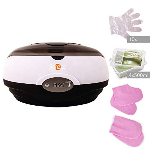 Sunzze Paraffin-Bad Komplett-Set mit Paraffin-Erhitzer, Paraffinwachs und Plastikhandschuhe. Fördert die Durchblutung, macht die Hände und Füße weich und geschmeidig