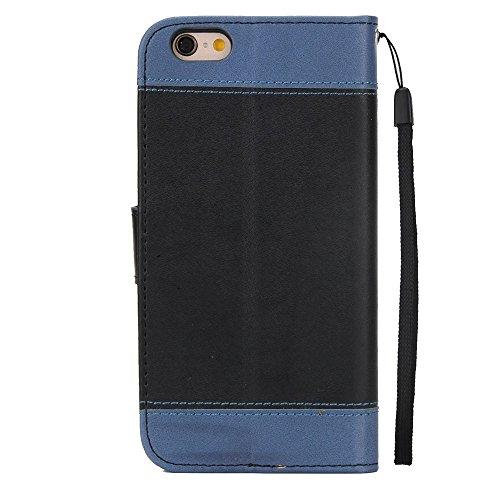 JIALUN-Telefon Fall Mit Card Slot, Lanyard, geprägte Mode Open Handy Shell für IPhone 6 Plus und 6s Plus ( Color : White ) Black
