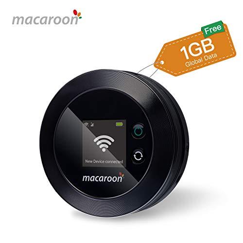 macaroon Mobiler WLAN-Hotspot, 4G Mobiler WLAN Router mit 1 GB globalen Daten, Freischaltbarer SIM-Free Portable Router für Geschäftsleute im Ausland
