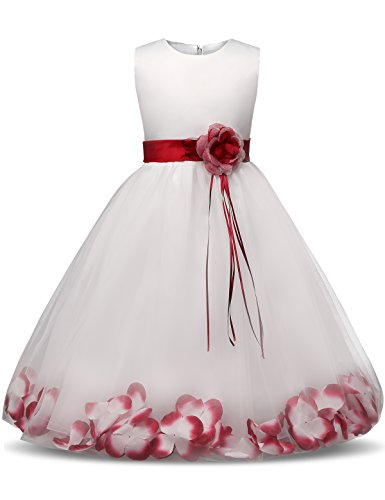 Blütenblätter Schleife Brautkleid für Kleinkind Mädchen Größe 3-4 Jahre Großes Rot ()