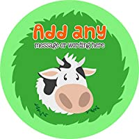 Farmer Cow Sticker Labels (48 Stickers, 4.5cm Each) Personalised Custom Seals Ideal for Party Bags Sweet Cones Favours Jars Presentations Gift Boxes Bottles Crafts