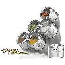 Set da 6barattoli porta spezie su supporto magnetico in acciaio inox