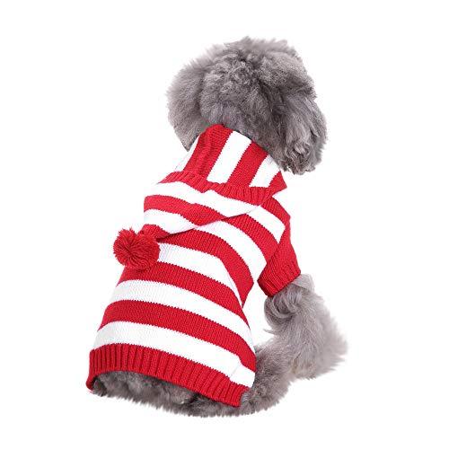 (MCYs Hund Pullover mit Kapuz Kleidung niedlich Haustier Kleidung warme Winter warme Welpen)