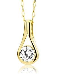 Miore Damen-Halskette 9 Karat 375 Gelbgold Tropfen Zirkonia 45cm