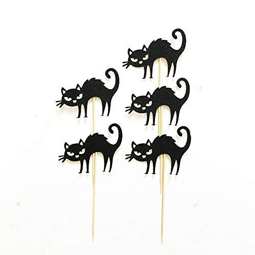 oween kleine Schwarze Katze kuchendeckel Halloween Kuchen Thema Fotografie Foto Requisiten Kuchen Dekoration Schwarze spinne kreative einfügen ()